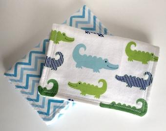 Alligator and Chevron Baby Burp Cloths- Set of 2