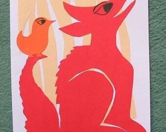 Dog postcard and bird