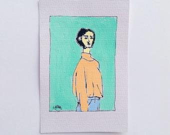 original art painting - 'hand me downs'