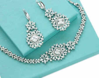 Bridal bracelet earring set, Wedding bracelet, CZ bracelet Crystal bracelet Cubic zirconia bracelet, Bridesmaid jewelry Bracelet set 1S0191