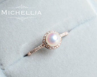 14k18k saltwater pearl engagement ring with halo diamond rose gold pearl ring - Pearl Wedding Ring