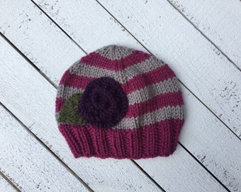 Raspberry Striped Flower Hat Ready to Ship Baby Girl Hat Unique Baby Girl Clothing Hand Knit Baby Beanie Infant Girl Fall Hat Baby Girl Gift