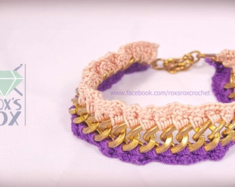 crochet bracelet pink purple 100% pure cotton faux gold chain classy crocheted uk