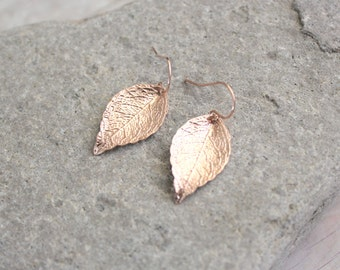 RILEY - Glossy Rose Gold Leaf, Rose Gold Filled Earwire, Dangle Earrings