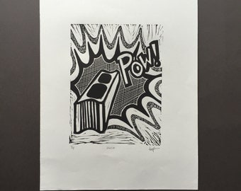 Ouch - Hand-Pulled Linocut Black and White Print in a Pop Art Style