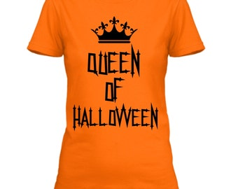 halloween shirts for women funny halloween tshirts women queen of halloween halloween graphic - Halloween Shirts For Ladies