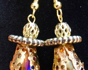 Gold bead drop earrings