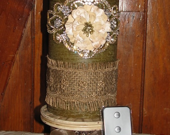 "Luminara Flameless Pillar Candle 4""x9"" Rustic Sage Unscented w/ Burlap and Rhinestones includes Timer and Remote Control GORGEOUS!"