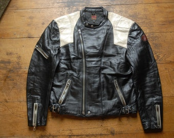 """Vintage 80's Erbo Special Black & White Leather Cafe Racer Style Motorcycle Jacket EU 54  44"""""""