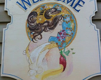 Welcome Sign, Hand Lettered Sign, Mucha, Wooden Sign, Wall Decor, Home Decor
