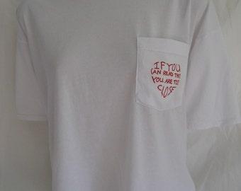 Tee Shirt White Cropped One Size, Tee Shirt Pocket Original, T Shirt White with Pocket Printed Design
