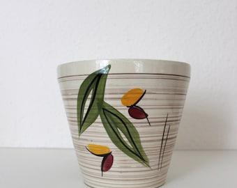Vintage flower pot planter ceramic beige floral planter Flowerpot houseplants 50s mid century