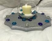 Blue Stone/Silver Candle Arrangement