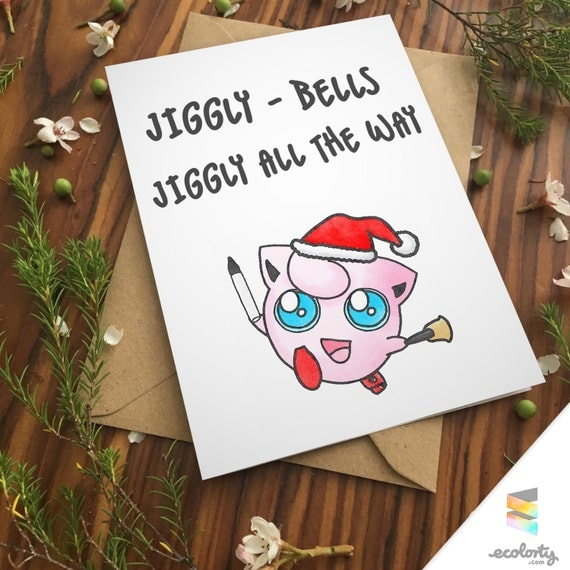 Jigglypuff Pun Christmas Greeting Card