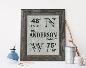 Longitude Latitude Sign, Linen fourth wedding anniversary gift, - LA0104