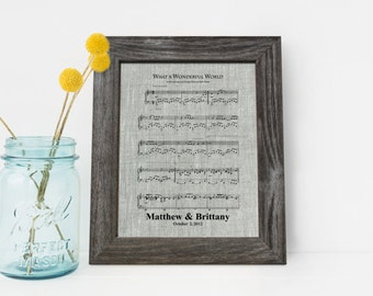 First dance song,  4th Wedding Anniversary Linen gift, 4 Years Together, fourth anniversary gift, Music notes sheet