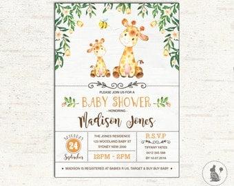 Giraffe BABY SHOWER Invitation. Woodland Baby Shower. Yellow Watercolor  Flowers Baby Shower Invite.