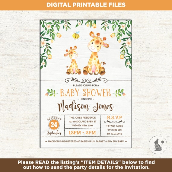 Giraffe baby shower invitation woodland baby shower yellow il570xn filmwisefo