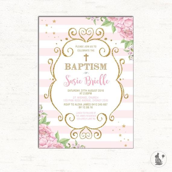 Pink Gold Baptism Invitation Girl Christening Printable Invitation