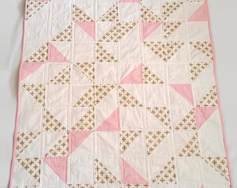 Metallic Gold Geometric Quilt, Baby Quilt For Sale, Geometric Baby Quilt, Gold, Pink, Mint Baby Quilt, Handmade Baby Quilt, Toddler Quilt
