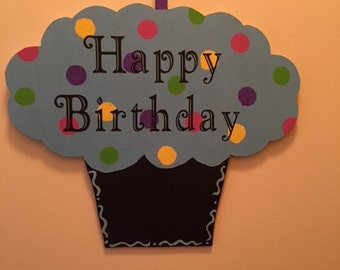 Wooden Happy Birthday Sign with Chalkboard