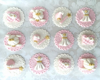 Princess Fondant Cupcake Toppers/ Custom Birthday Cupcake Topper/ 1st Birthday Cupcake Toppers/Princess Edible Baby shower Cupcake Toppers.