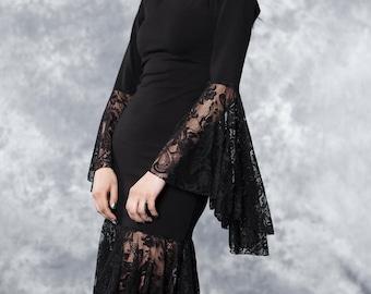 Dress - Flamenco - gothic - black - lace - size xs/s