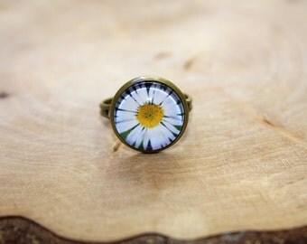"Cabochon bronze ring ""Daisy 14mm"""