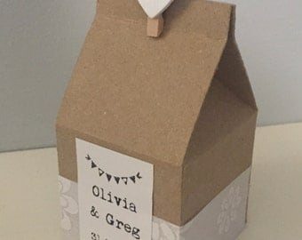 Handmade Milk Carton Box - Wedding Favour