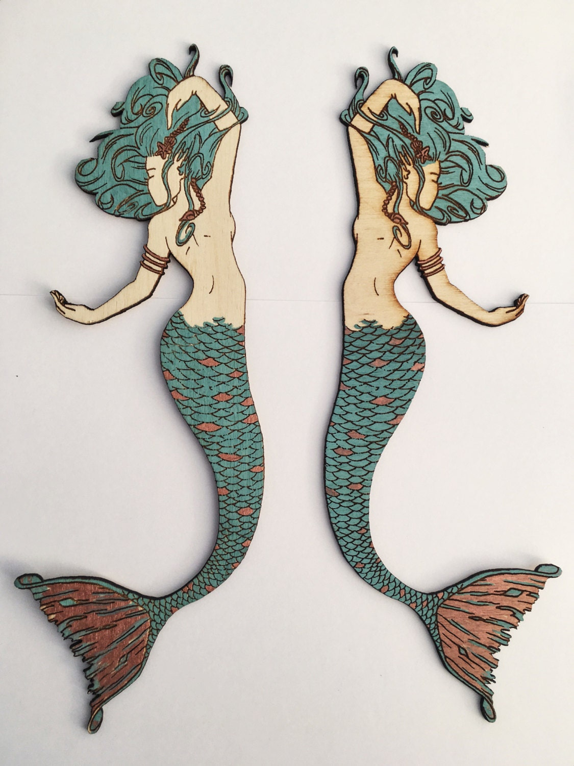 mermaid wall decor with copper leaf accents decorative mermaid