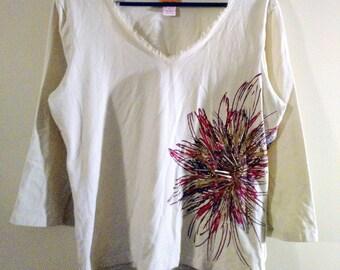 Natural Beaded Flower Burst Fringe Collared V-neck Shirt