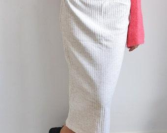 Vintage cream cotton pencil skirt
