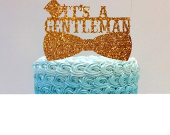 It's a Gentleman Cake Topper Baby Shower Cake Topper Baby Shower Decoration Baby Shower Boy Glitter  Cake Topper Baby Boy Shower
