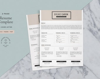 Resume Template 3pk / Professional CV Template + Cover Letter for MS Word & Pages / Instant Download