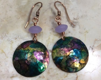 Hand Painted Copper Hammered Domed Earrings