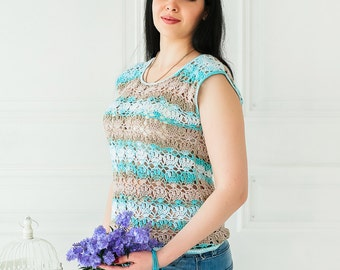 Stripped Knitted Top, Knitted Top, Stripped Top, Stripped Knit Top, Openwork Top, Handknitted Top, Stripe Knit Top, Stripe Handknit Top