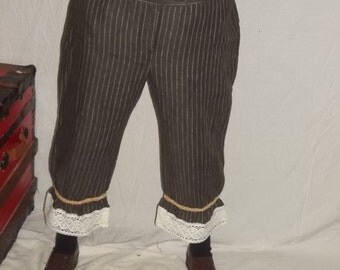 Brown pinstripe pantaloons with off white lace