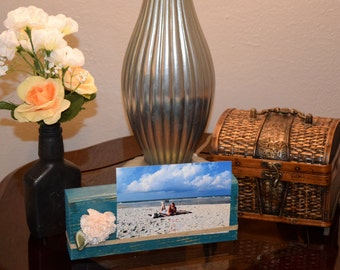 Wooden Picture Block - Distressed Teal