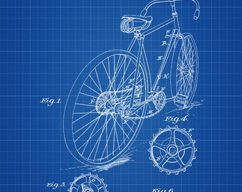 Bicycle Patent - Vintage Bicycle, Bicycle Blueprint, Bicycle Art, Cyclist Gift,  Bicycle Decor, Bicycling Enthusiasts