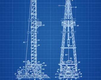 Oil Derrick Patent - Decor, Office Decor, Patent Print, Oil & Gas Patent