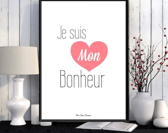 Poster illustration print, Positive quote wall, Positive art, French quote design, Quote art print, Happy art, Wall art decor, Feel good art
