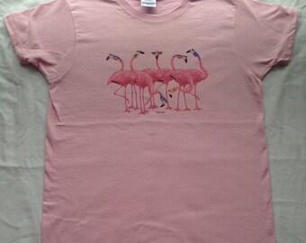 Cool Flamingos T-Shirt, Flamingos with Shades T-Shirt, Pink Flamingos T-Shirt