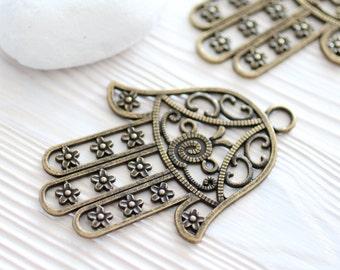 Extra large Hamsa pendant, antique Hamsa, filigree pendant, filigree Hamsa, ornate pendant, Hamsa medallion, Hamsa hand, gold Hamsa