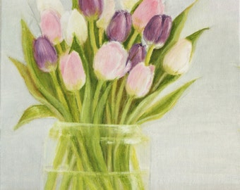 Tulips - original oil painting, 22x27 sm, flowers,green, spring, pink, art, drawing, illustration