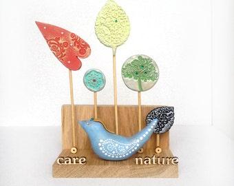 Melting Art Object CARE NATURE for your Eco home decor / Eco decor / Nature art / Bird artwork / Summer / Art / Art objects / Gift ideas