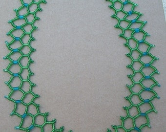Canopy green and teal netted necklace