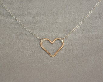 Silver and gold necklace. Heart pendant Necklace. Handmade hammered heart. Minimalist jewelry. Dainty necklace. Mix metal necklace. Gift.