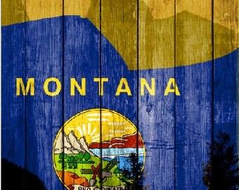Montana Flag Mountains LAMINATED Cornhole Wrap Bag Toss Decal Baggo Skin Sticker Wraps