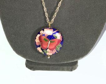 Vintage Enamel Butterfly with Flowers Cloisonne Pendant Necklace, E3