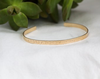Latitude Longitude Bracelet - Custom Coordinate Bracelet - Gold Cuff Bracelet - GPS Coordinate Bracelet - Personalized Cuff - Gift For Her